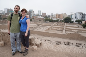 Atop the pyramid in Huaca Pucllana