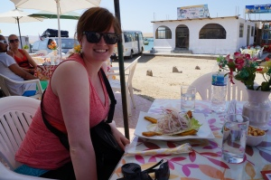 Trying ceviche in Paracas