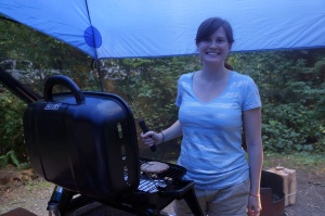Grilling burgers on our camping trip
