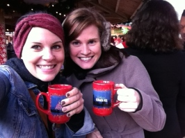 Enjoying hot cider at the Christmas Market