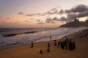 Sunset over Ipanema Beach